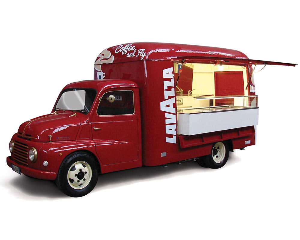 Vintage Food truck designed from Fiat 615 for Lavazza company in Turin Airport