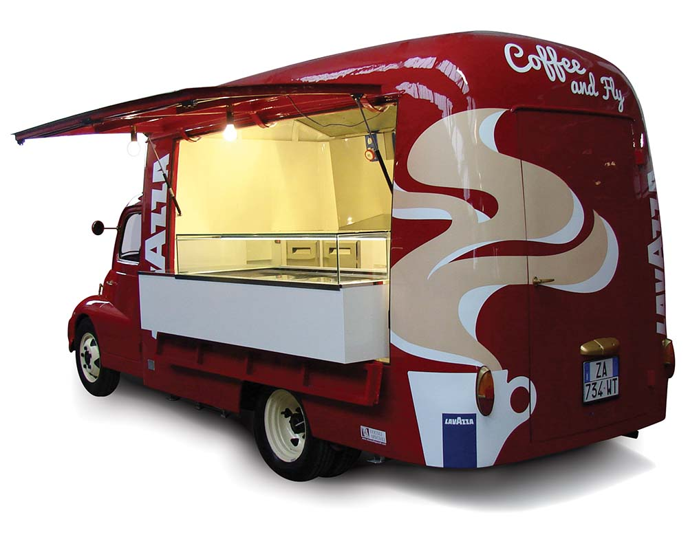 Food truck Fiat 615 built for Lavazza company and set at the Turin Airport