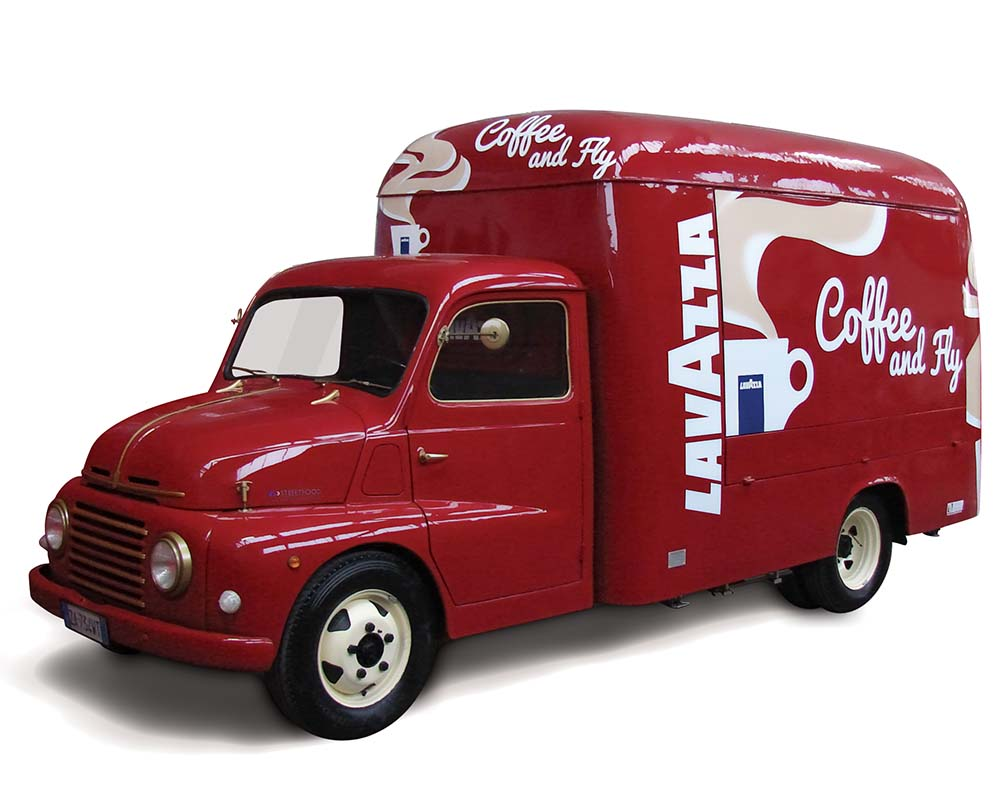 My Chef Lavazza is a food truck for a mobile coffee experience. Red color