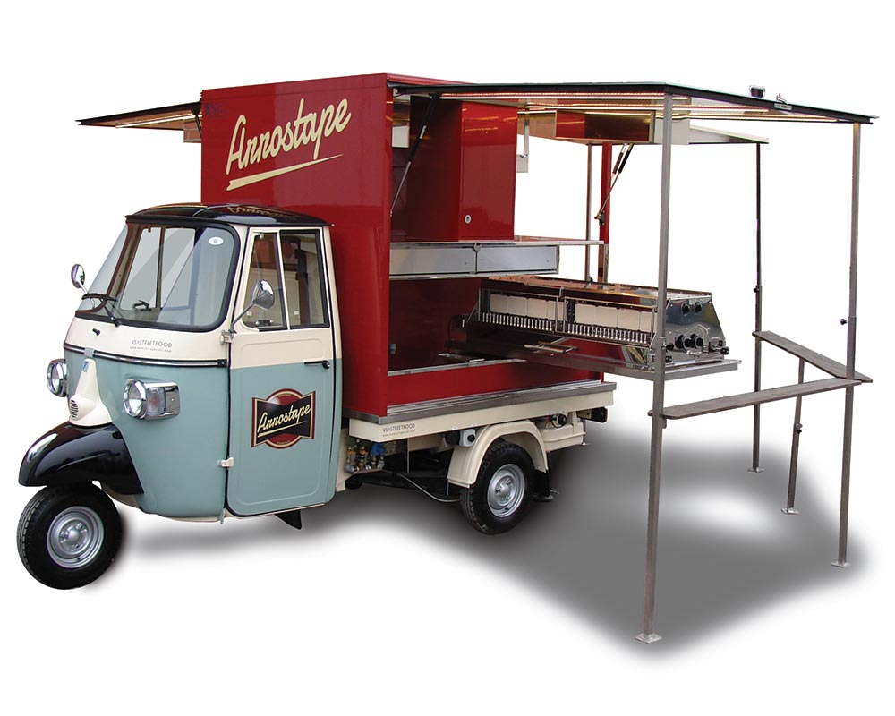 Food Catering Piaggio Van for vending sheep and goat meat skewers