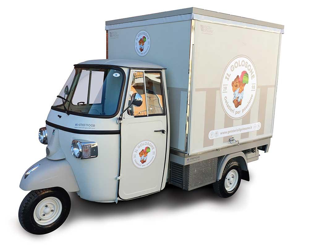 Piaggio van converted into mobile ice-cream shop in Valceresio