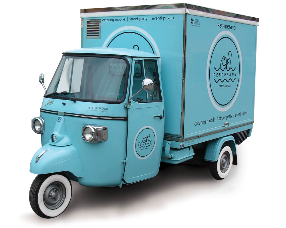 Piaggio van designed for food catering and street vending. Celest colour