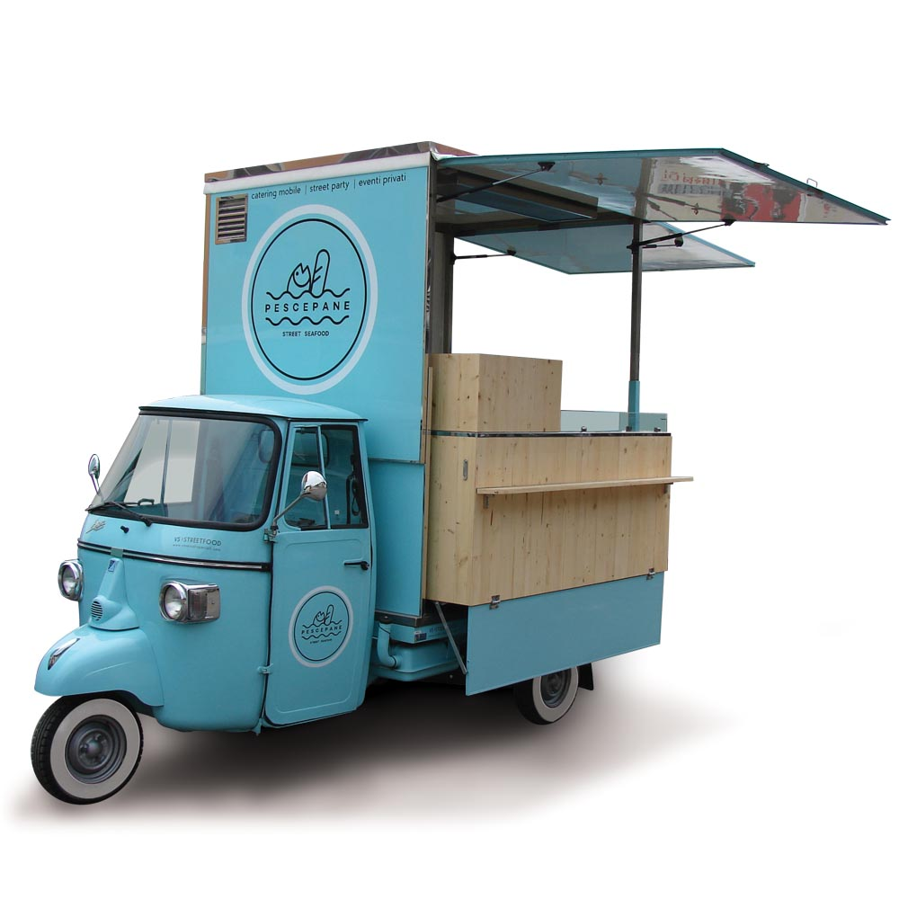 Piaggio van modified for vending street seafood equipped with professional kitchen