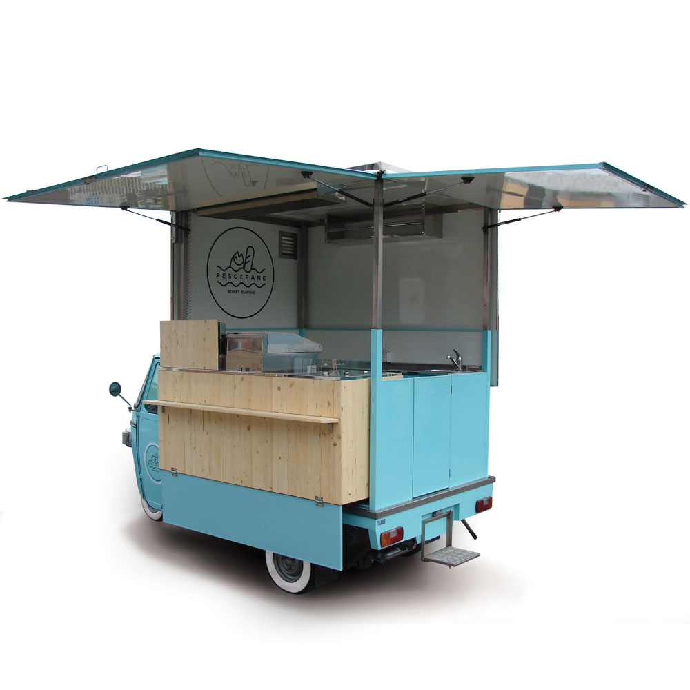 Pescepane is a Piaggio van modified for cooking and vending street seafood dishes and food catering. Its colour is celest