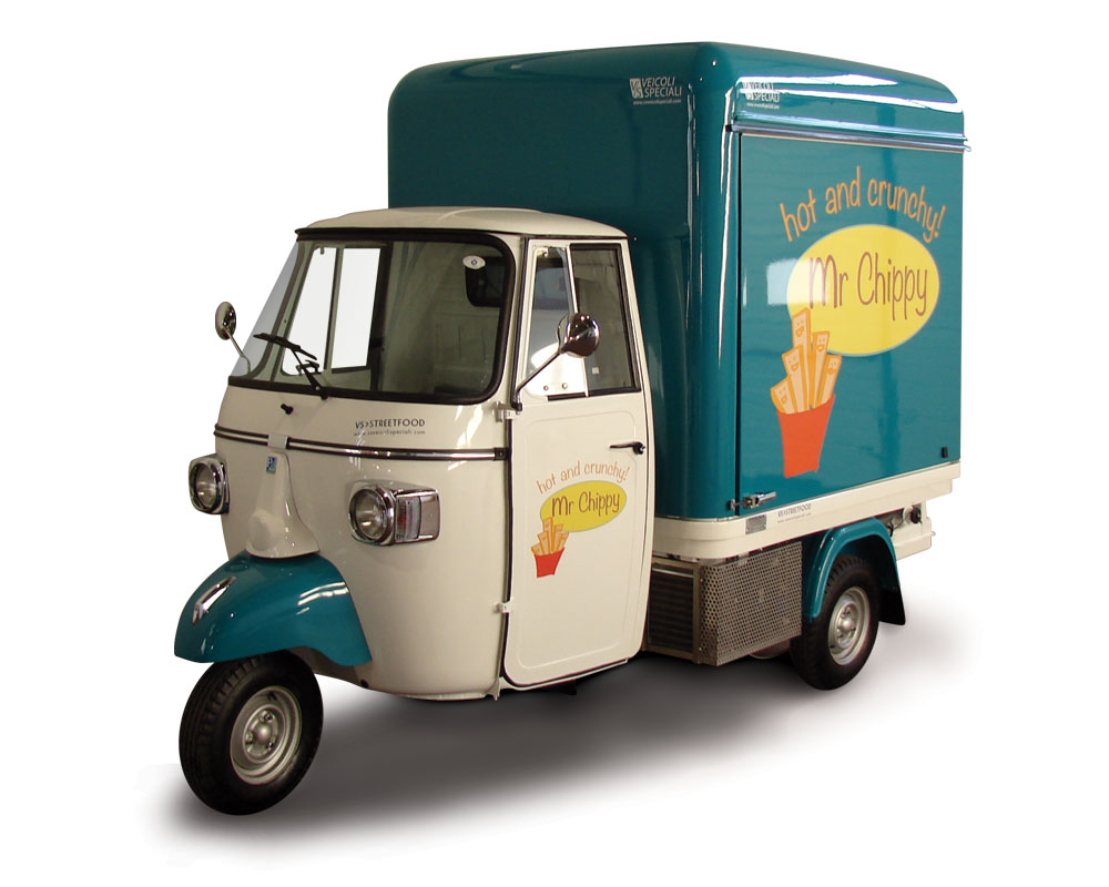 Mr Chippy is an ape piaggio designed for street food business
