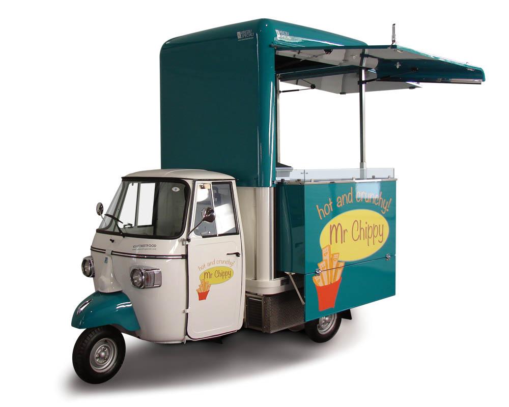Ape Food van in Dubai vending fried food. Green and white colour