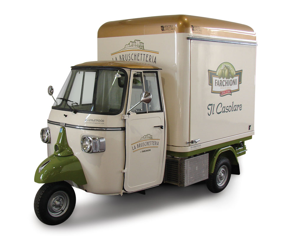 Apecar converted into food van for vending italian snacks