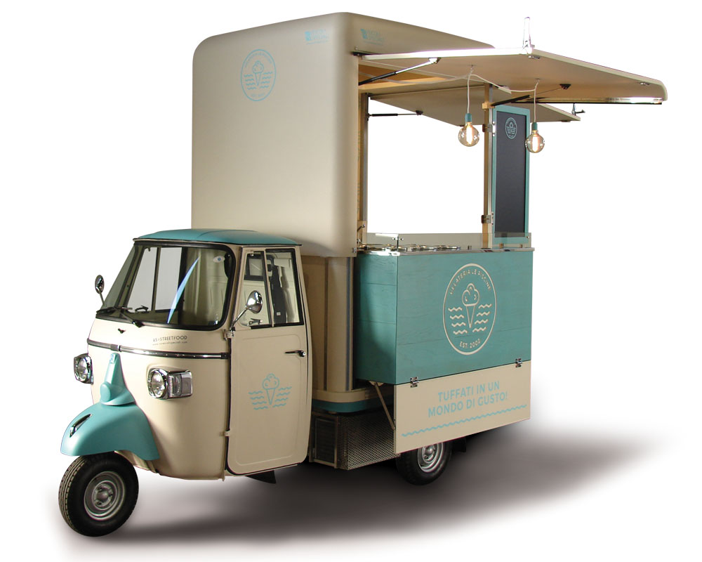 Ape street food for vending italian gelati in Milan and Lombardy