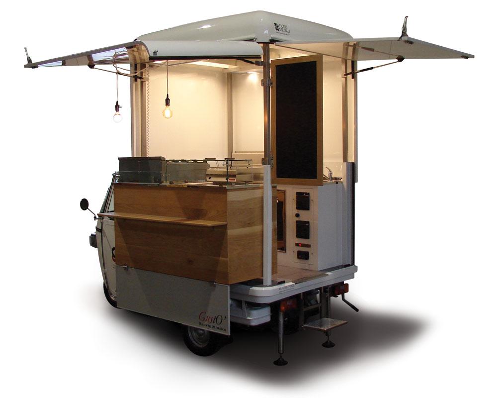 mobile k chen auf 3 rad piaggio ape van gust villa. Black Bedroom Furniture Sets. Home Design Ideas