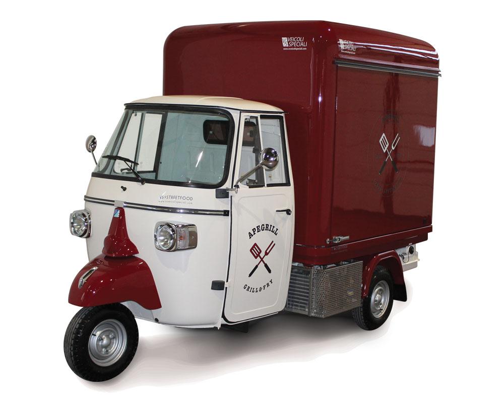 Customized Piaggio van for burgers vending