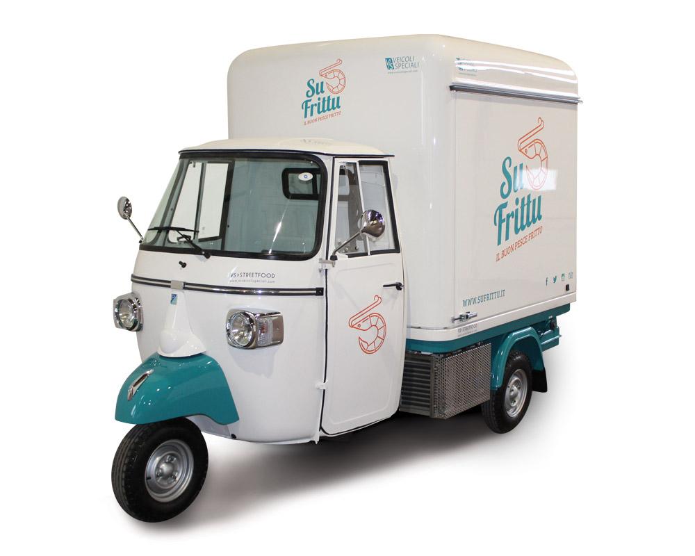 Su Frittu is a Piaggio Food Van for serving seafood delicacies in Cagliari