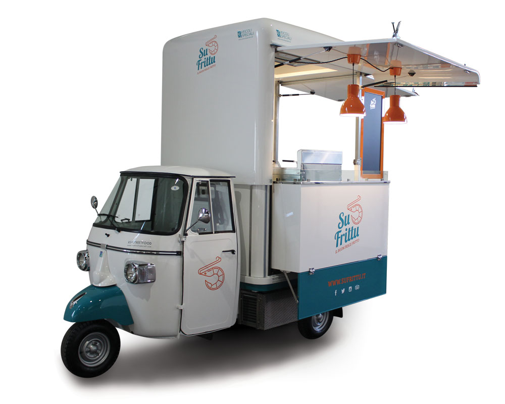 Apecar converted into food van and equipped as a mobile kitchen