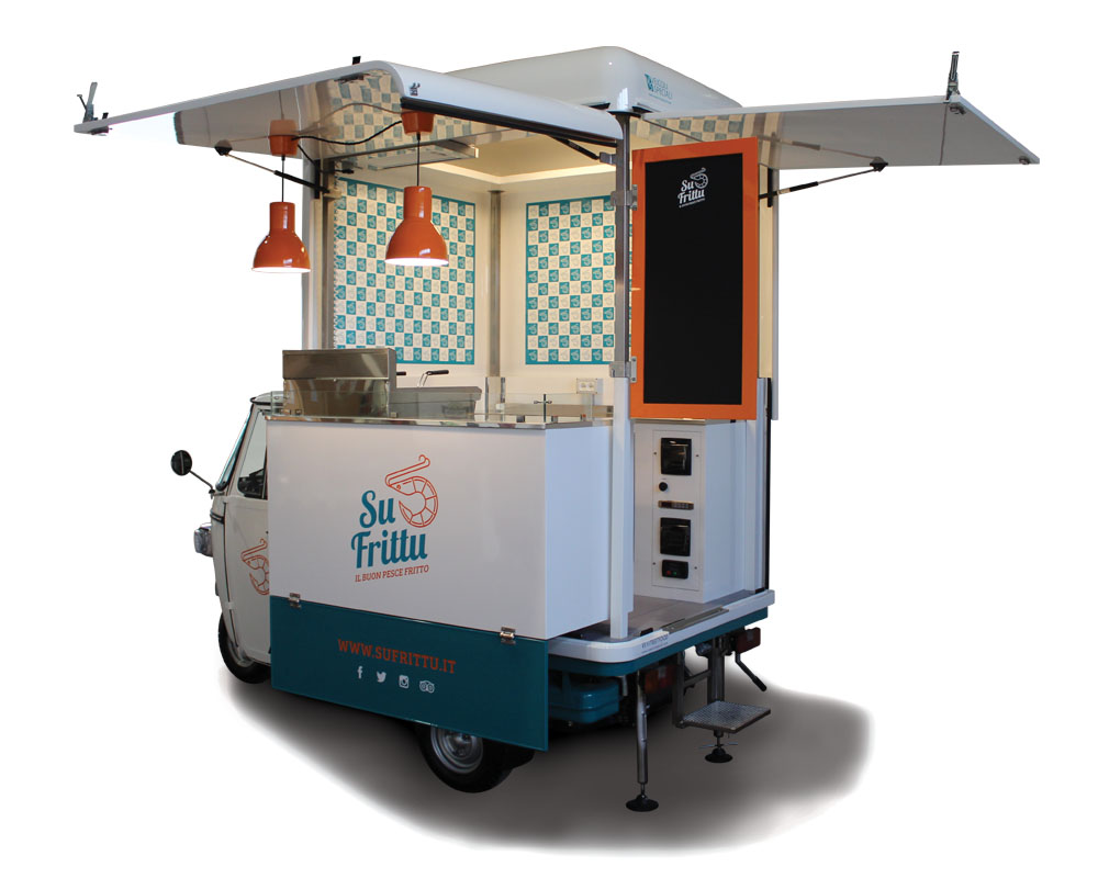 Piaggio Food Van designed to sell fried food in the streets of Sardinia