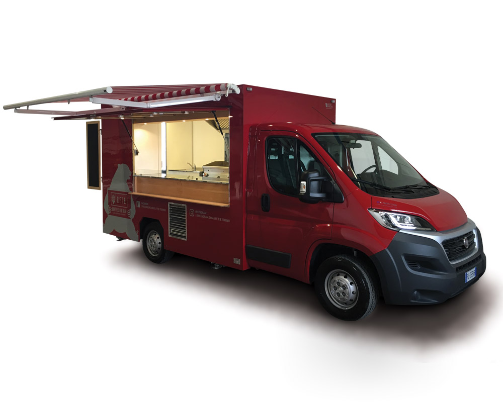 "Ducato Food Truck ""Don't Feed the Bear"" designed in Turin to sell sandwiches and fried food"
