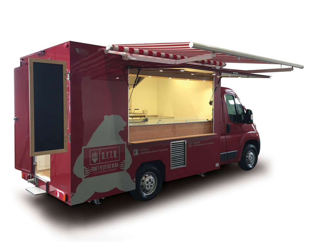 Food truck equipped for serving sandwiches and fried specialities