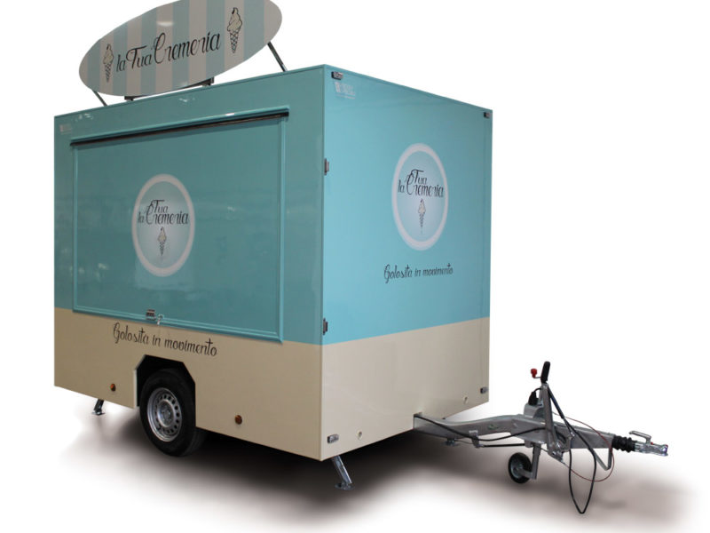 Food trailer equipped to sell soft ice-cream