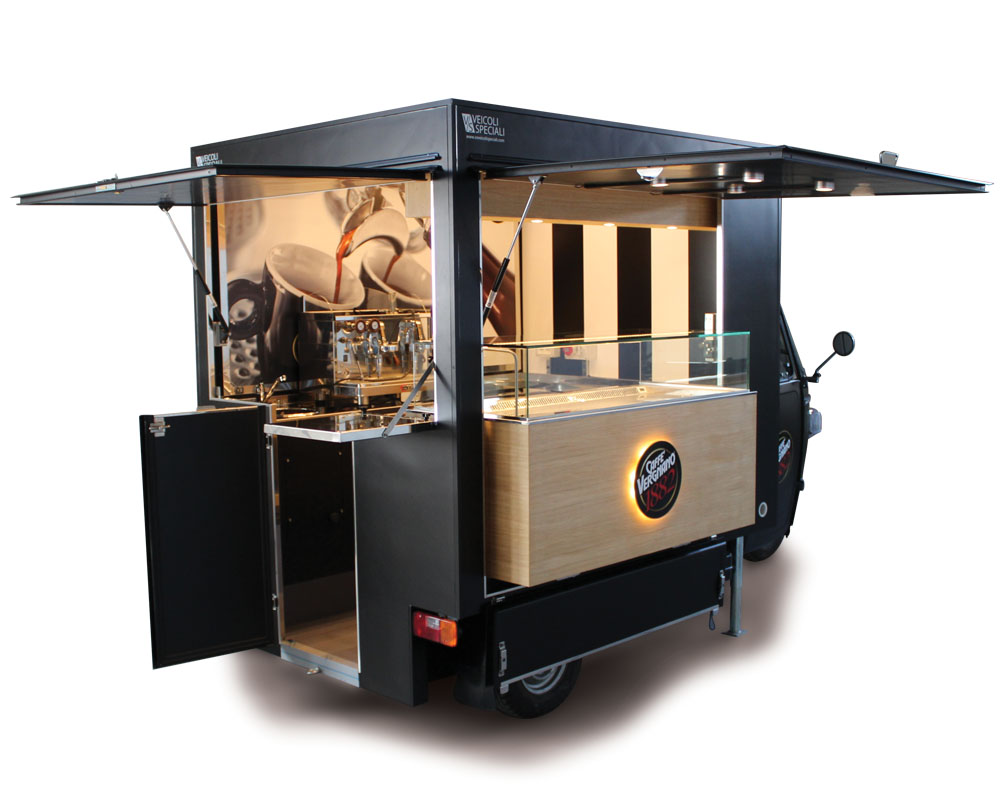 mobile cafeteria customized and equipped for the italian brand Vergnano