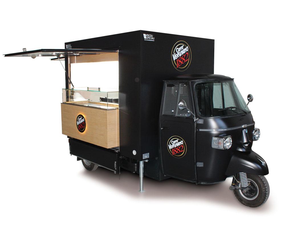 coffee truck black designed on piaggio ape Vergnano