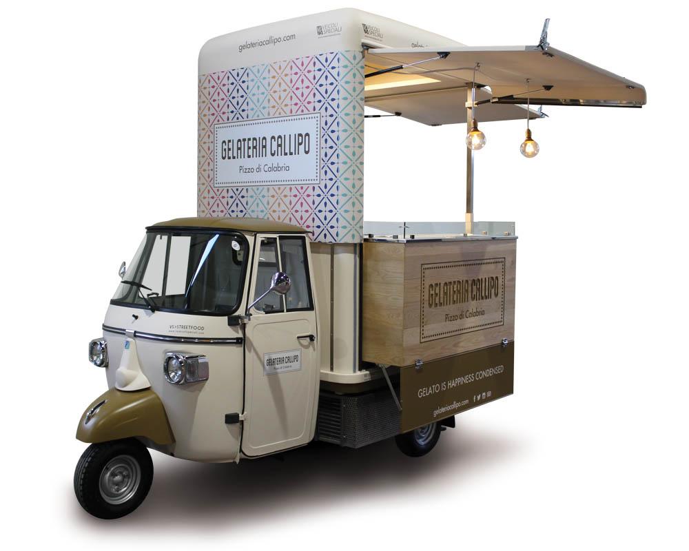 Callipo is a mobile ice cream shop on converted piaggio truck