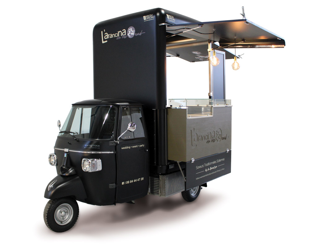 Small food truck l'arancina for sicilian products selling