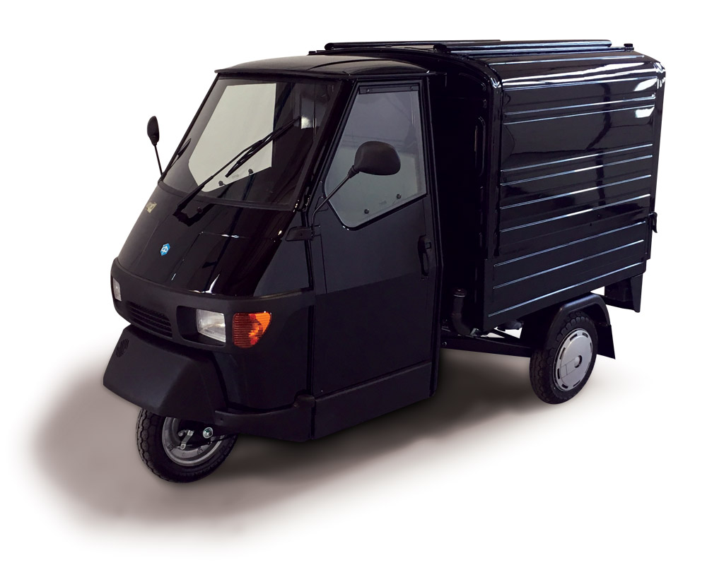 coffee van built on an all black piaggio ape 50