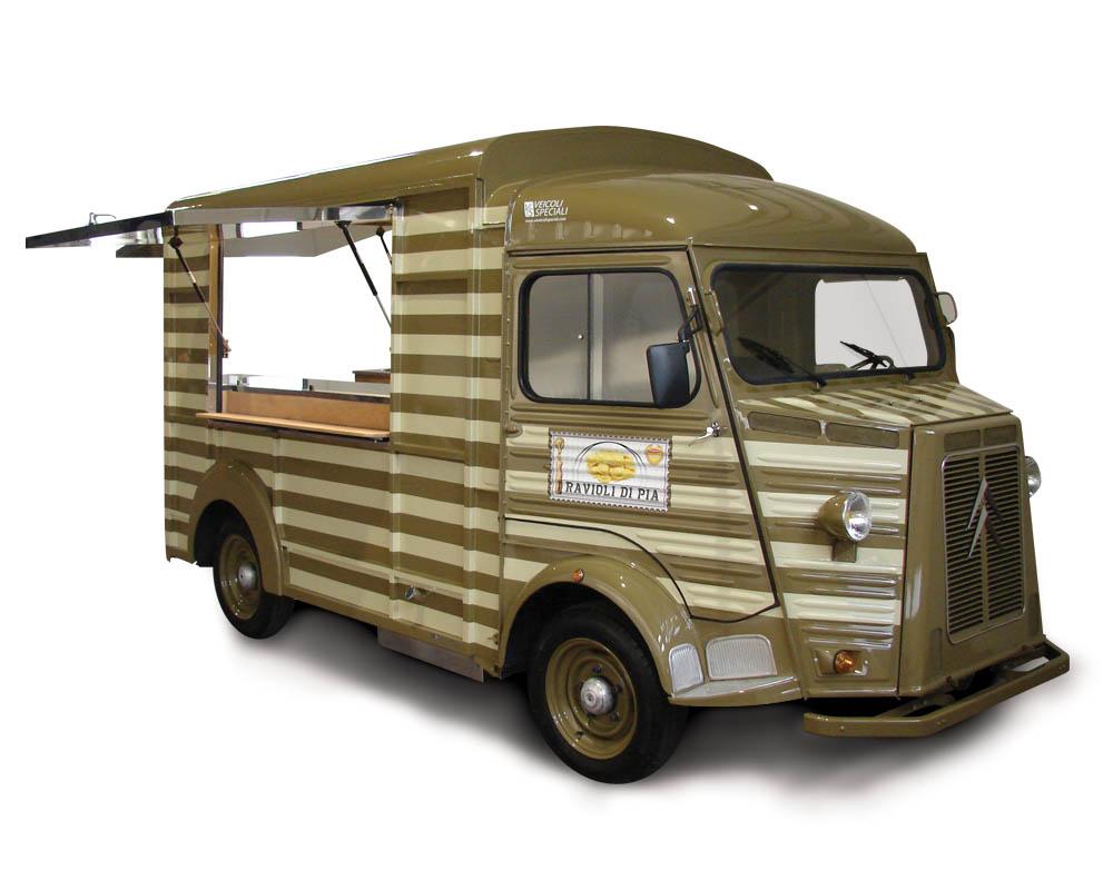 food truck citroen per vendita ambulante di pasta fresca e ravioli di pia