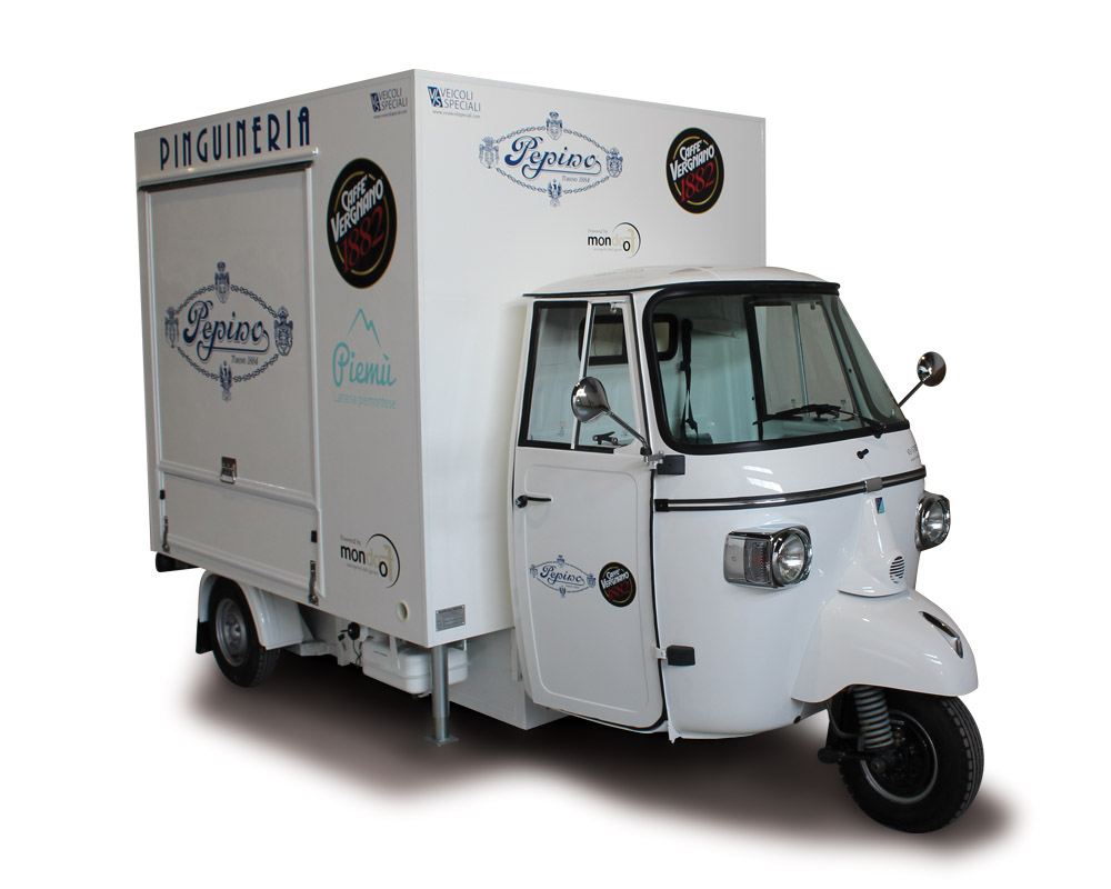 Mobile ice-cream van built on Piaggio Ape TR and designed to sell italian gelati and branding at avent and festivals