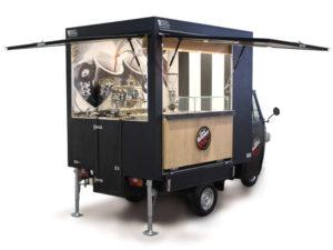 Concept of italian cafeteria recalled on a Vergnano Piaggio Ape TR