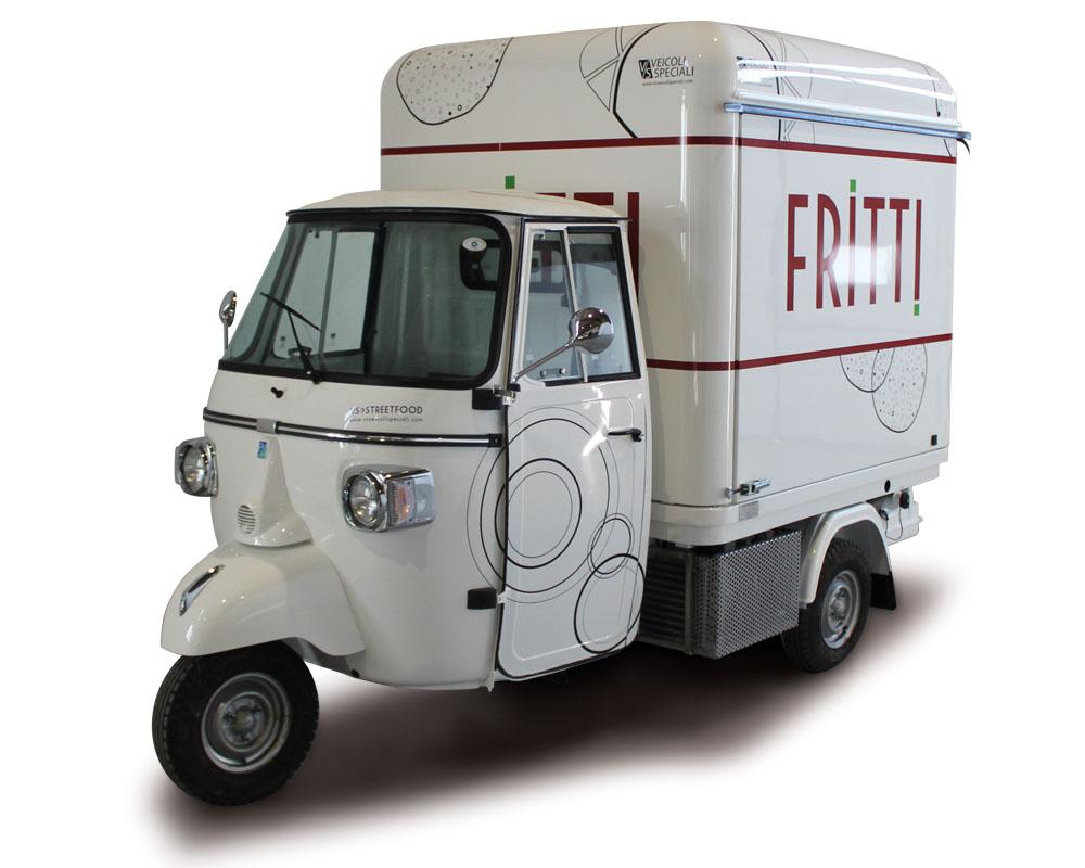 Triporteur Friterie Ambulant aménagé sur Piaggio Ape V-Curve pour restauration rapide