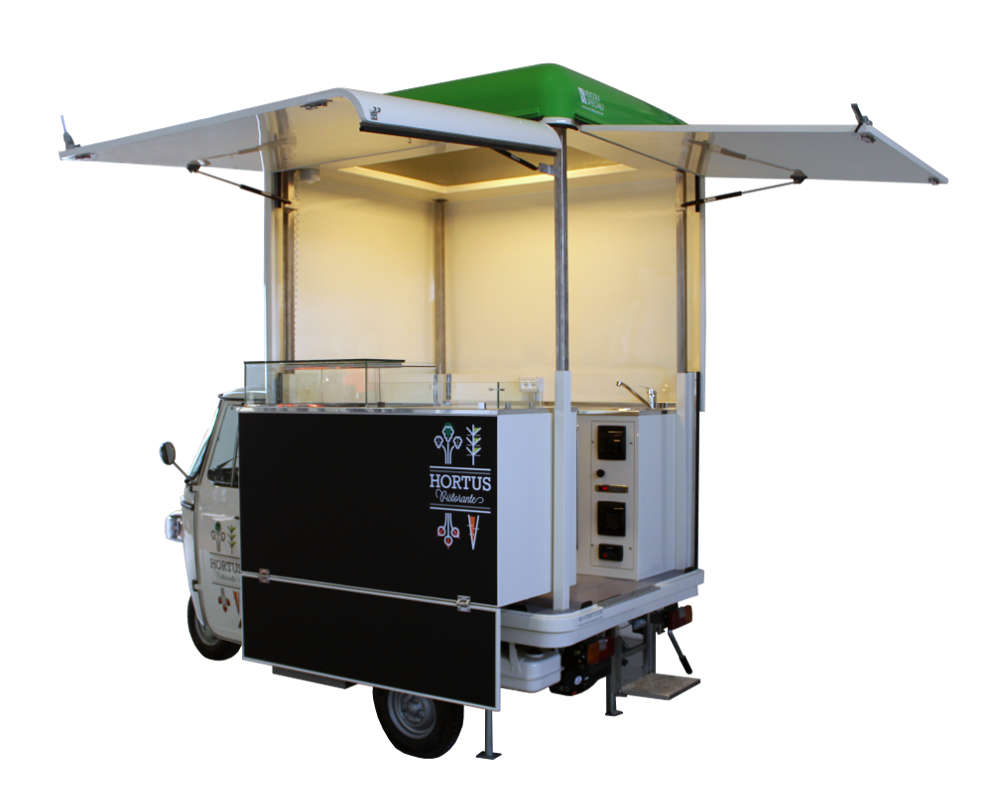 ape ristorante mobile hortus per vendita di piatti vegani