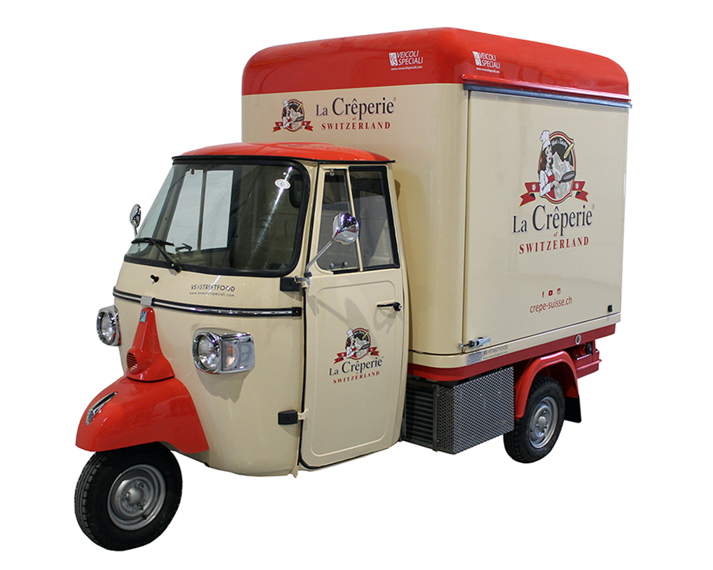 "piaggio ape for street food trade ""la creperie switzerland"""