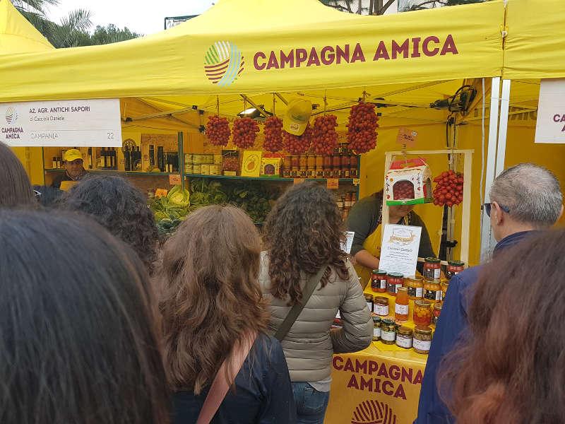 coldiretti campagna amica with their stall in a fair