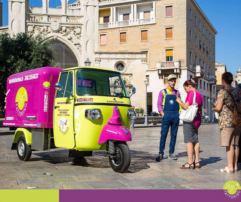Farmers who sell directly their products. In the photo the company Agrofattorino with its food truck piaggio ape developing a street food business with online shop and catering