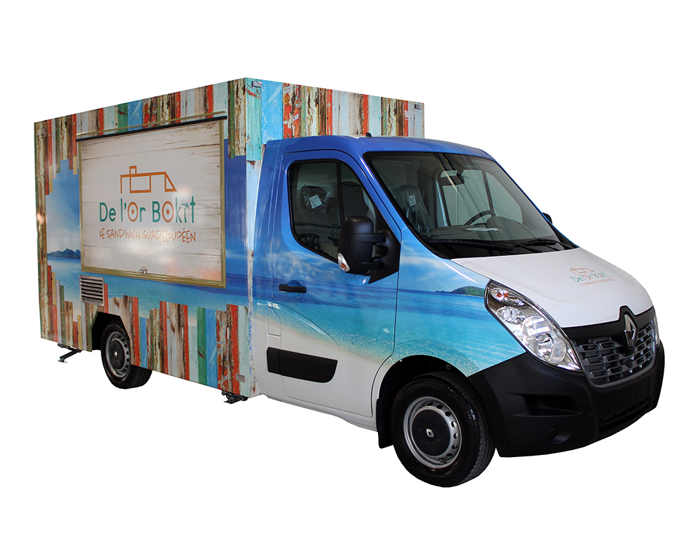 Colorful Food Truck Renault Master built for l'or bokit and travelling across Switzerland