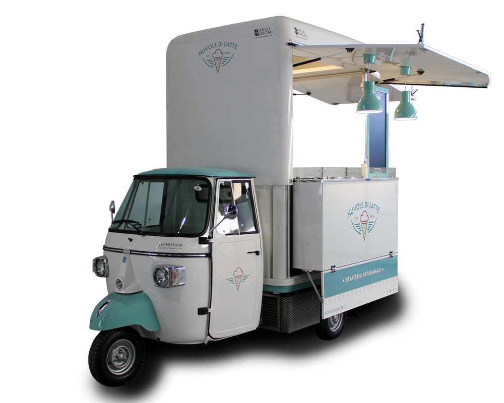 itinerant ice-cream shop built on vintage piaggio ape for street food business in florence