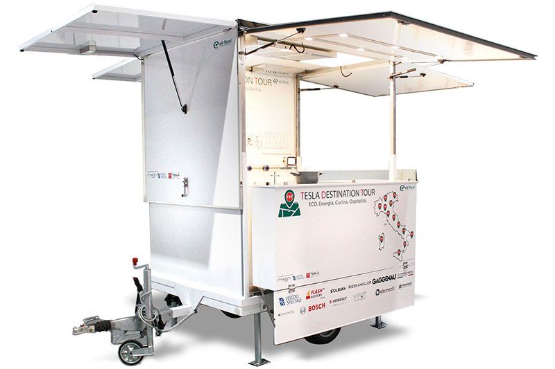 food trailer and mobile kitchen powered with solar energy - F-Trailer designed for Tesla company