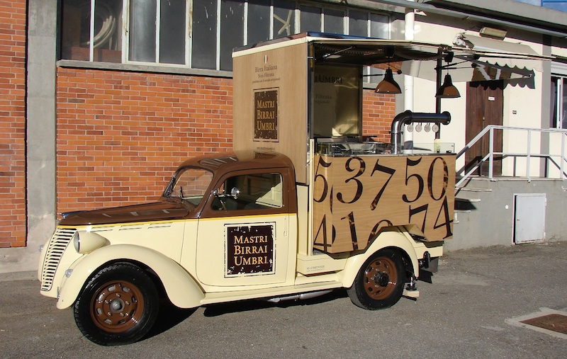 fiat 110 musone converterd into food truck for the brewery mastri birrai umbri