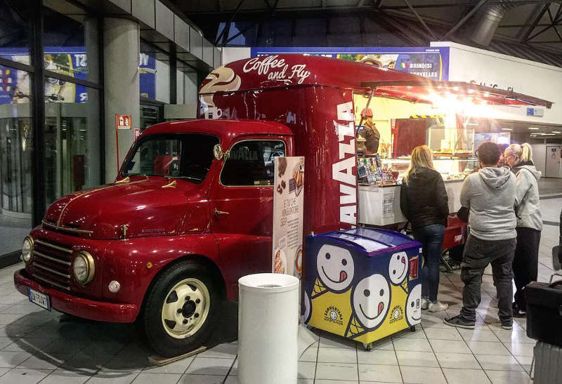 fiat 615 transformed into food truck for lavazza coffee in the turin aeroport