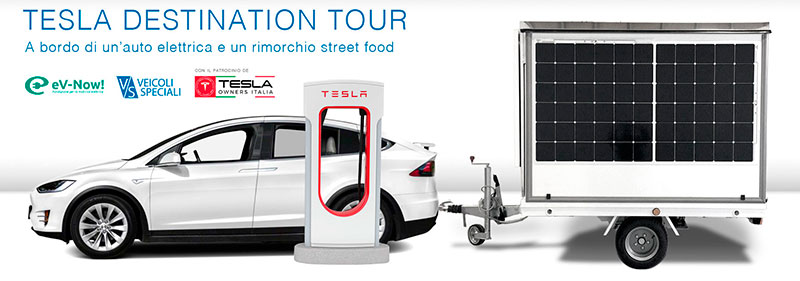 food trailer used for show cooking in Tesla Destination Tour