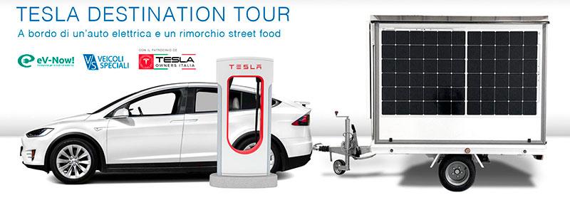 rimorchio street food usato per esibizioni di cucina nel tour promozionale di tesla