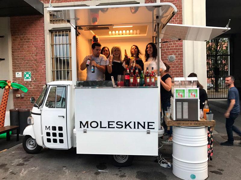 ape cocktail bar noleggiata per evento aziendale da moleskine