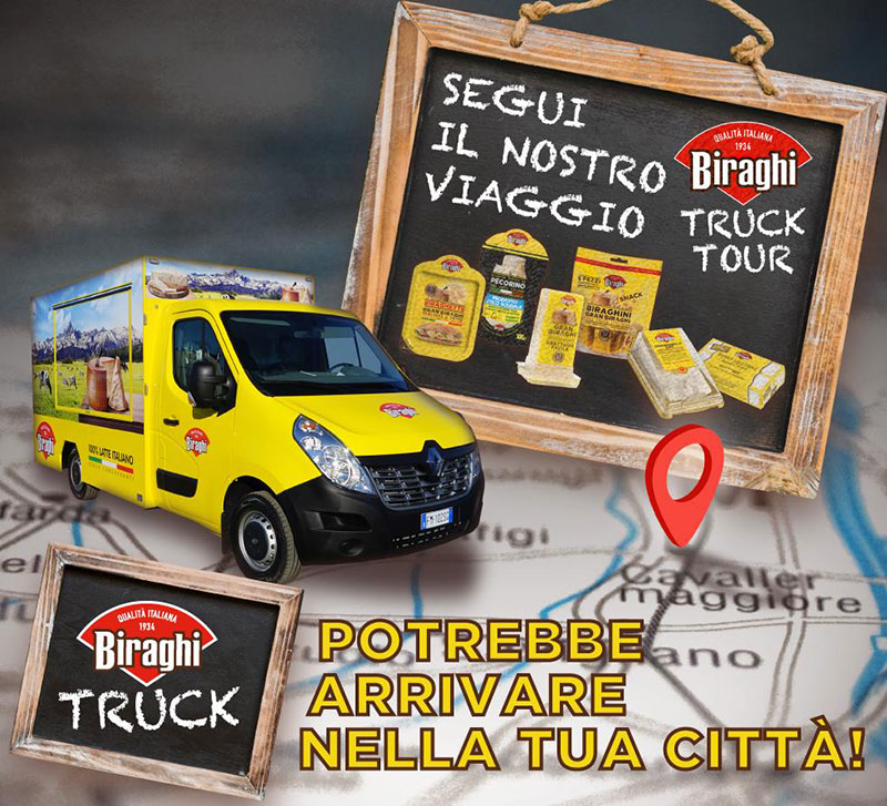 Biraghi food truck tour. Promotional tour of the piedmontese cheese company