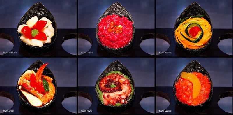 itashi ristorante che vende itamaki un cibo di strada ibrido giappone-italia inventato innovando il tipico cono di alghe tamaki