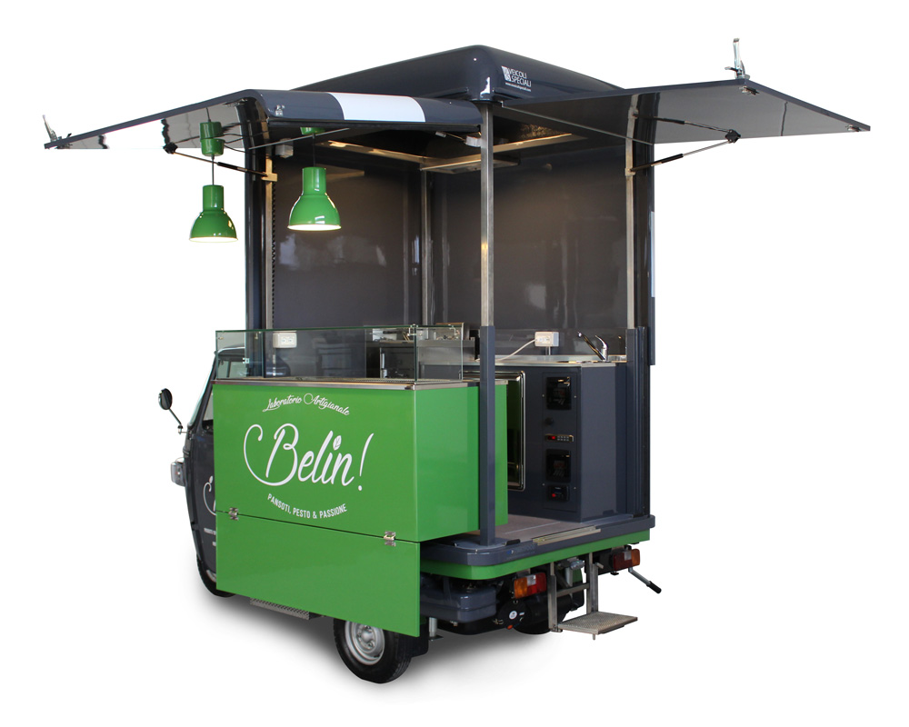 ape food truck per commercio itinerante di prodotti al pesto