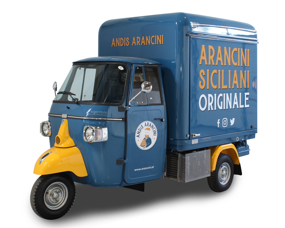 converted piaggio ape andis arancini for selling sicilian dishes in Austria