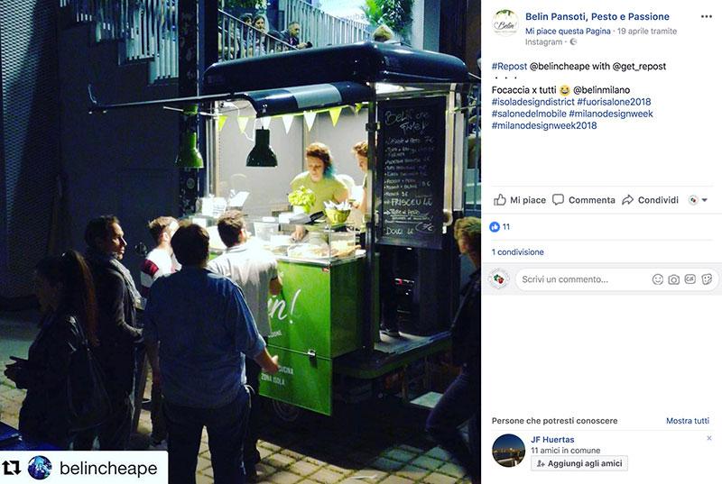marketing per promuovere food truck esempio di utilizzo dei canali social. Nell'immagine la comunicazione attraverso facebook