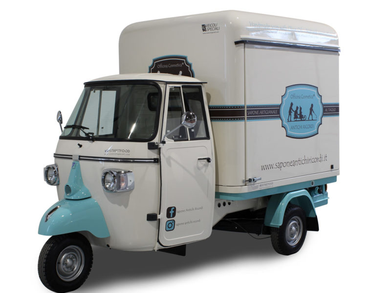 mobile truck boutique built on Piaggio Ape for a cosmetic company
