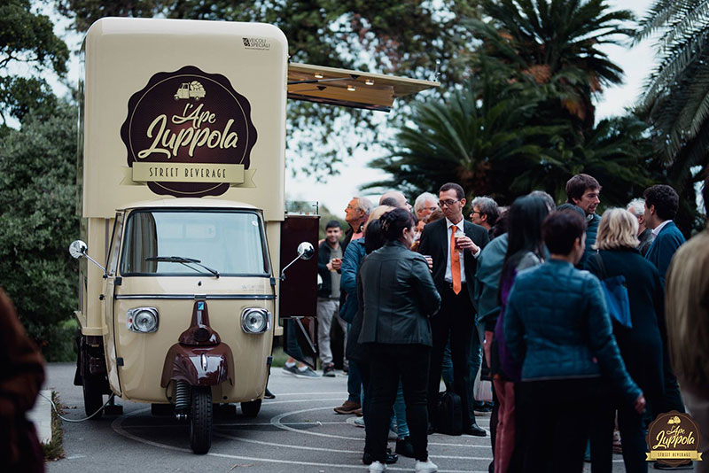 mobile truck beer built on piaggio ape for promoting brands at events and for festival and fairs
