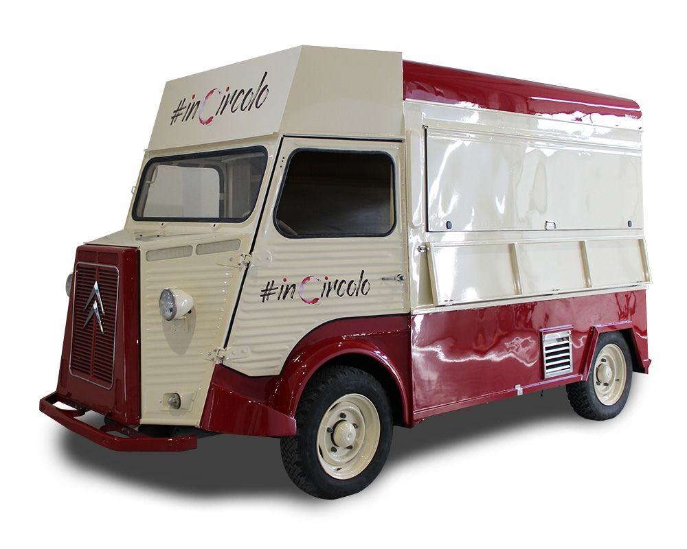 food truck vintage citroen hy with integrated beer tapping system