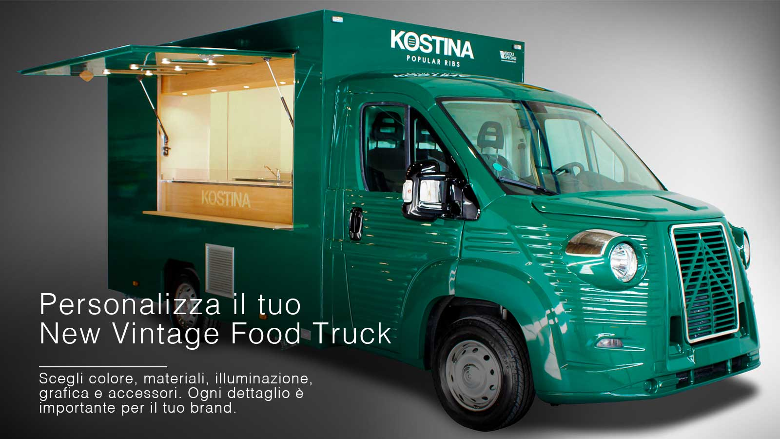food truck citroen non veicolo d'epoca restaurato ma vintage nuovo personalizzabile, nell'immagine colore verde per azienda Kostina